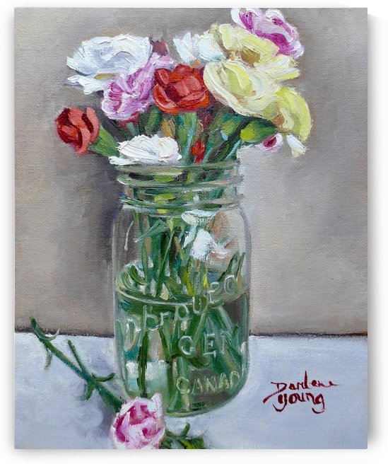 Carnations in a Mason Jar by Darlene Young Canadian Artist