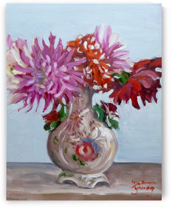 Dahlias in an Italian Vase by Darlene Young Canadian Artist
