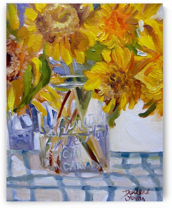 Sunflowers in a Jar by Darlene Young Canadian Artist