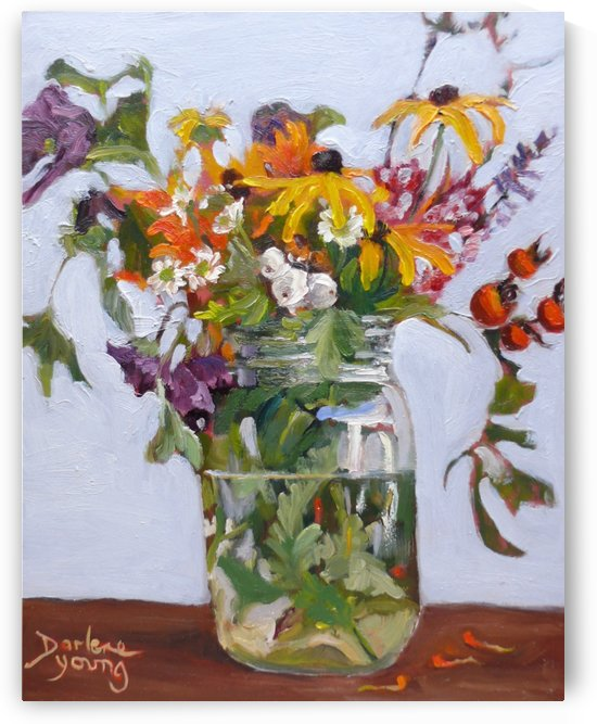 Wild Flowers and Rosehips by Darlene Young Canadian Artist