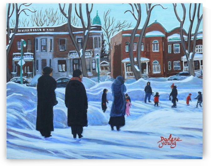 Outremont Park Skating Scene by Darlene Young Canadian Artist