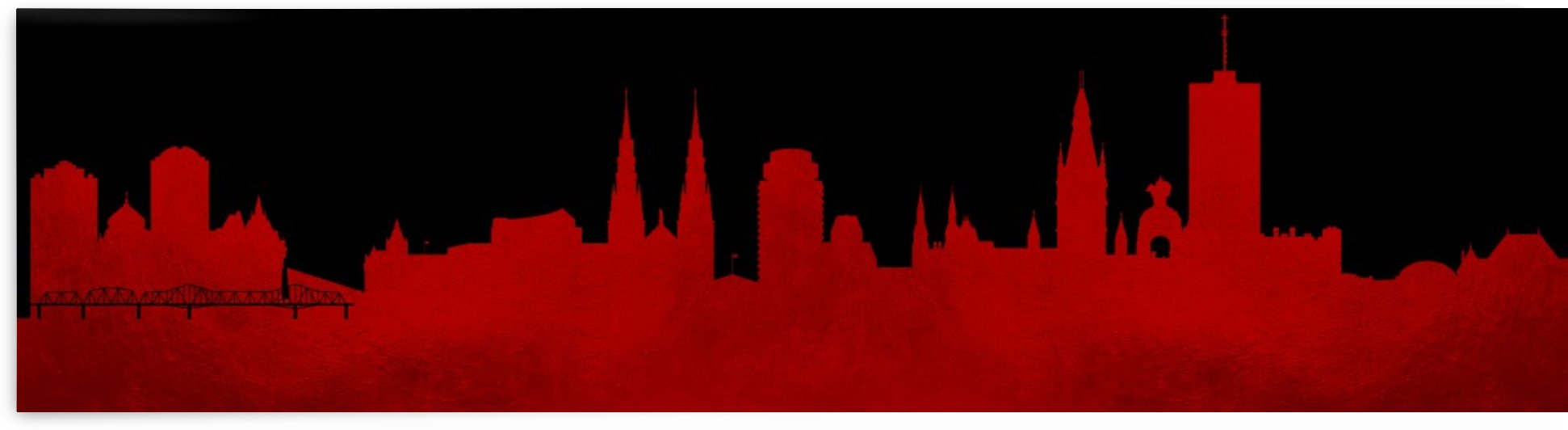 Ottawa Ontario Canada Skyline Textured Red by ABConcepts