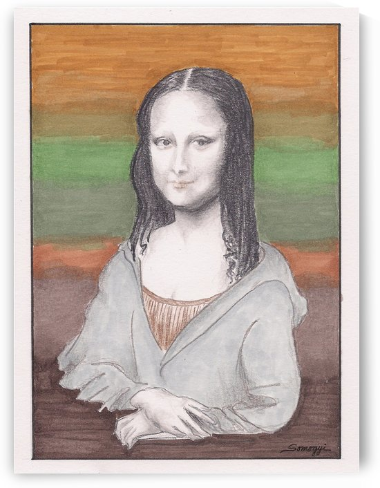 Mona Lisa Redux in Gray Hoodie by Jayne Somogy