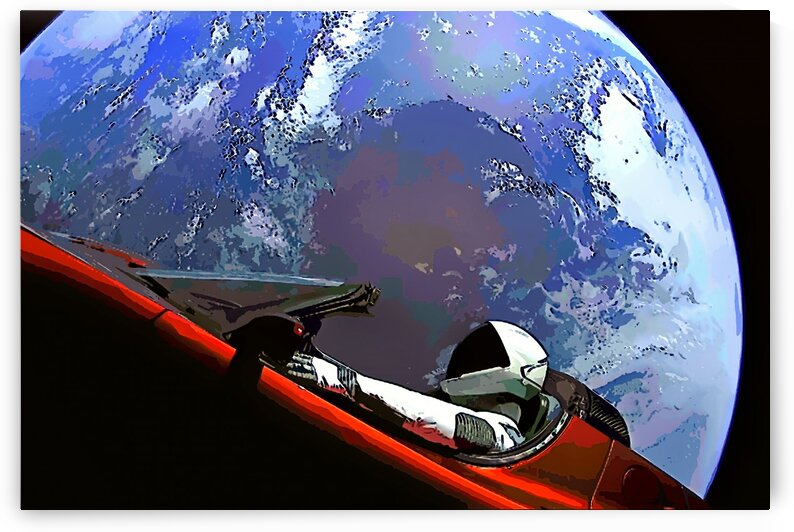 StarMan in Tesla Above Planet Earth by Bill Swartwout Photography