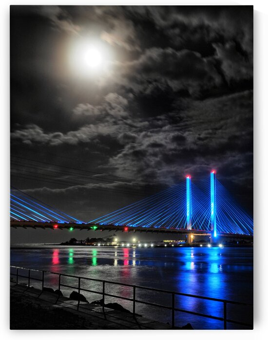 Blood Moon over the Indian River Bridge by Bill Swartwout Photography