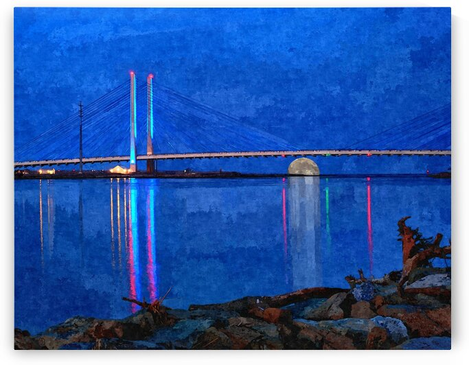 Full Moon Rising Under the Indian River Bridge Painterly by Bill Swartwout Photography