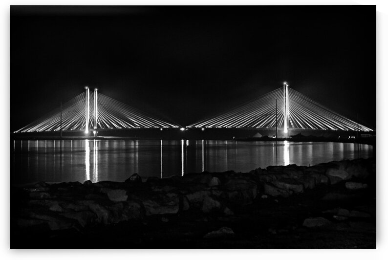 Indian River Bridge After Dark in Black and White by Bill Swartwout Photography
