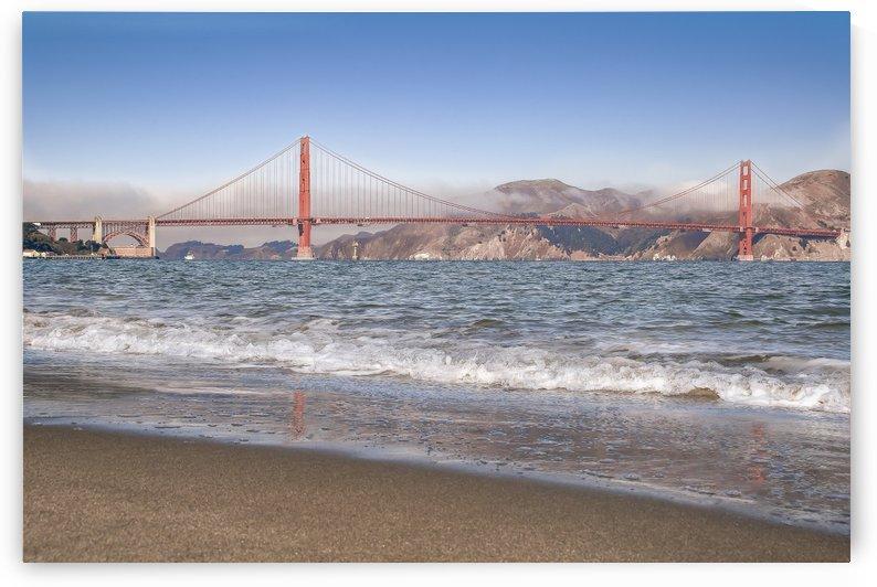 Golden Gate Bridge with waves by Gary Geddes