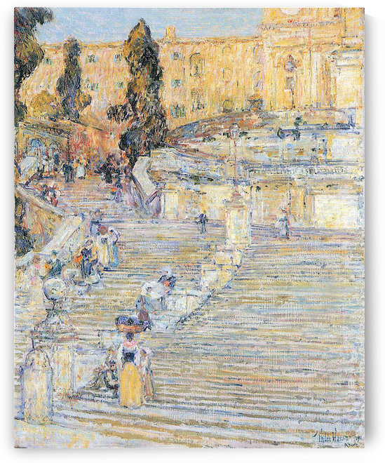 The Spanish steps by Hassam by Hassam