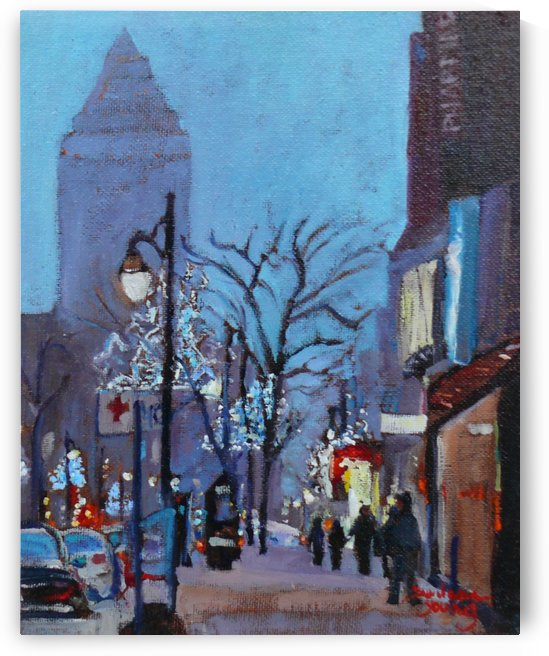 Downtown Montreal Night by Darlene Young Canadian Artist