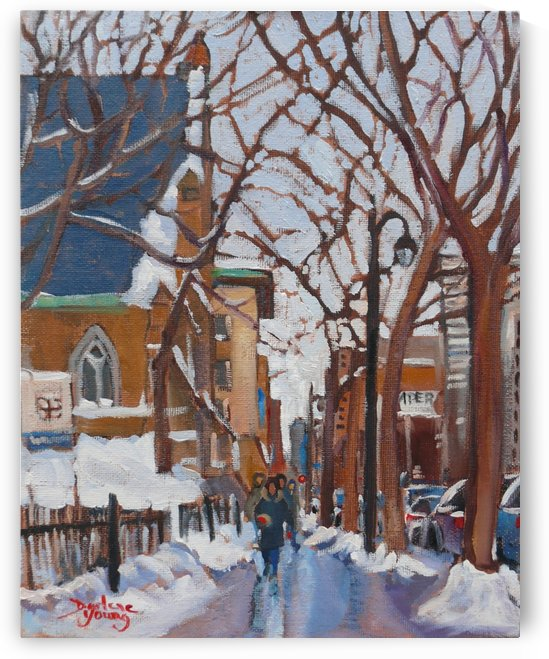 Downtown Montreal St Catherine Street by Darlene Young Canadian Artist
