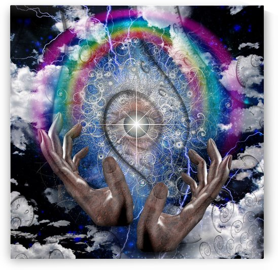 Hands Pray to the God Eye by Bruce Rolff