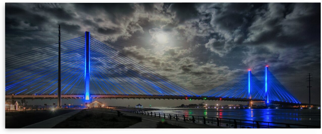 Indian River Bridge Moonlight Panorama by Bill Swartwout Photography