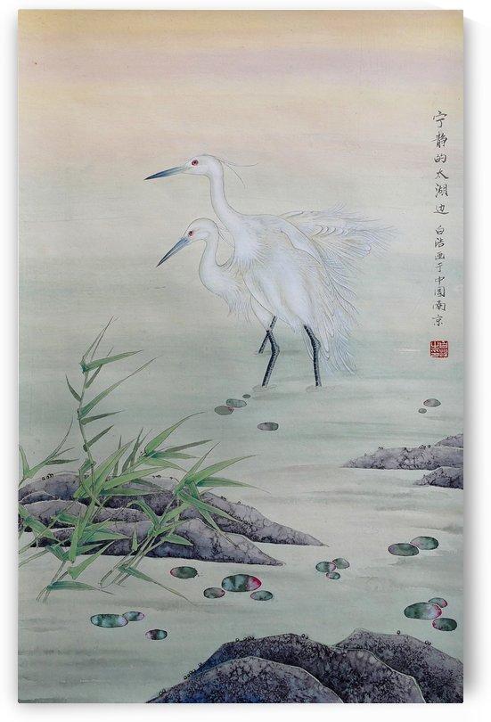 Cranes in Chinese River by Birgit Moldenhauer