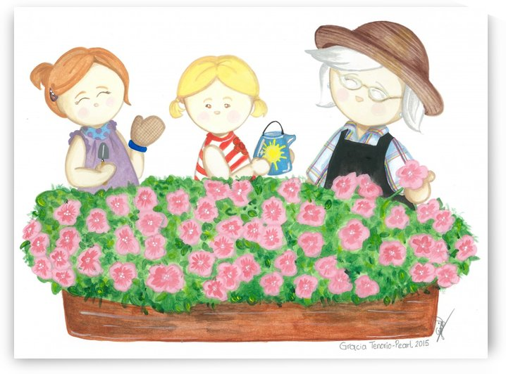 Granny gardening by Gracia Tenorio Art