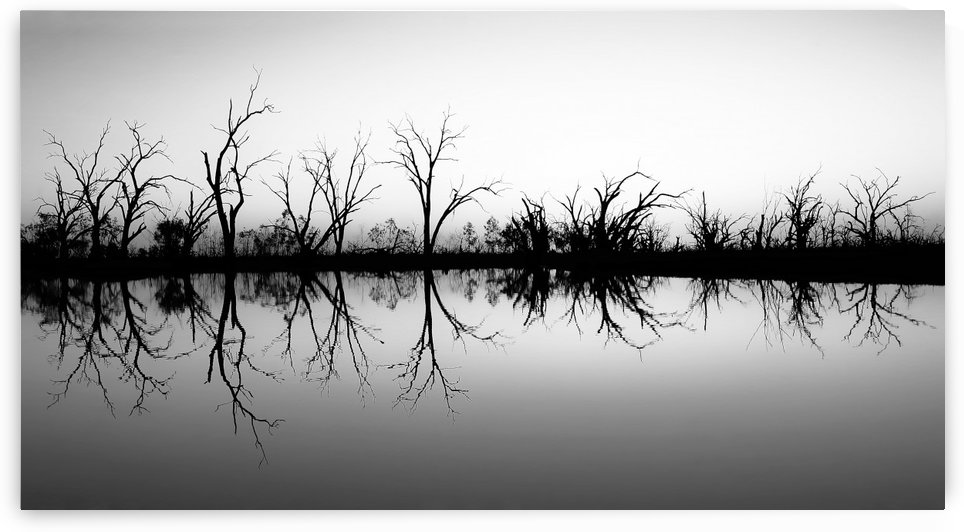 Sun Setting on Pamamaroo Lake in B&W by Lexa Harpell