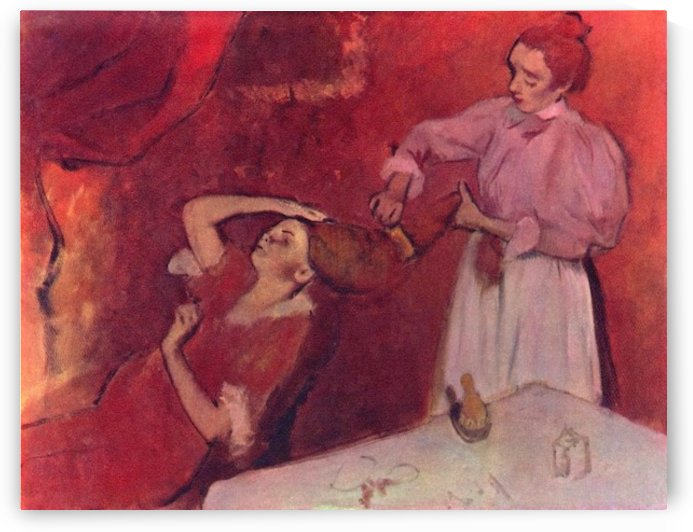 Combing hair by Degas by Degas