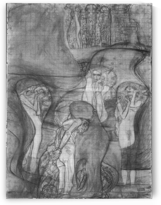 Composition draft of the law faculty image by Klimt by Klimt
