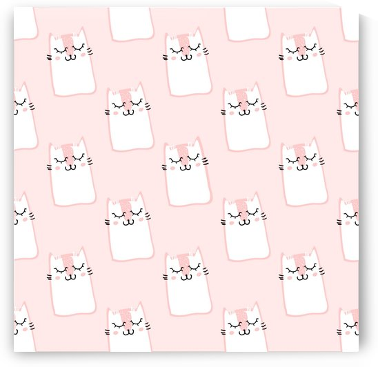 pattern pink cute sweet fur cats by Shamudy
