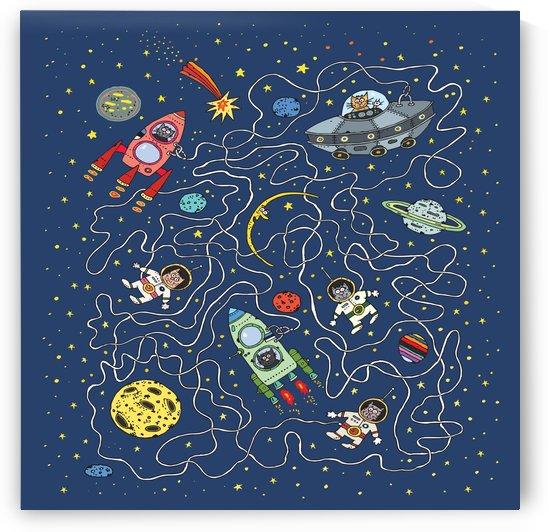 cat cosmos cosmonaut rocket by Shamudy