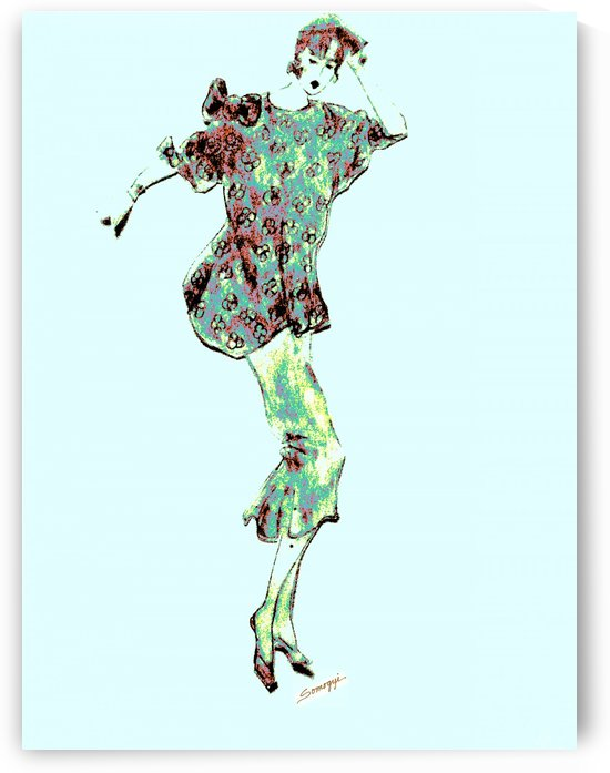 1980's Fashion on Blue by Jayne Somogy