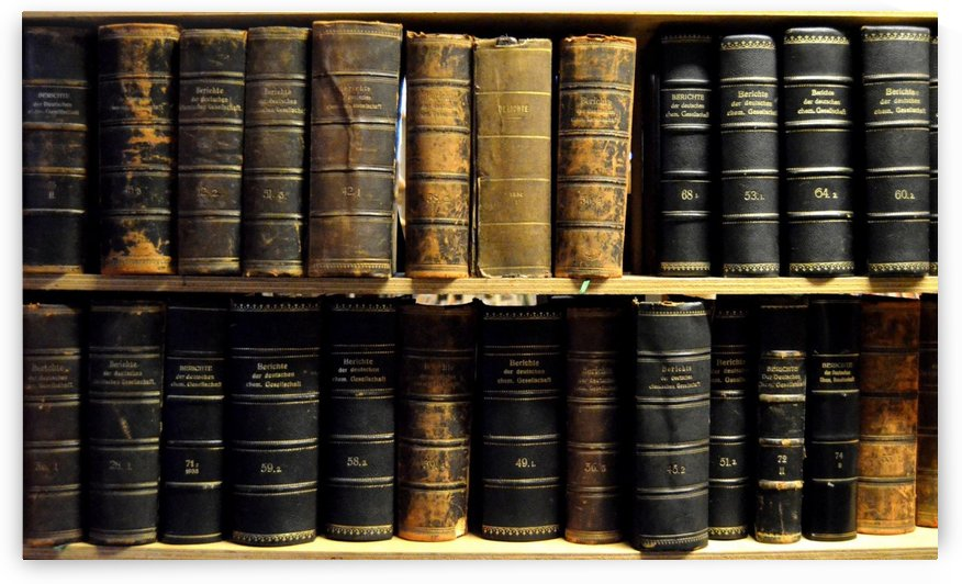 books old vintage library shelves by Shamudy