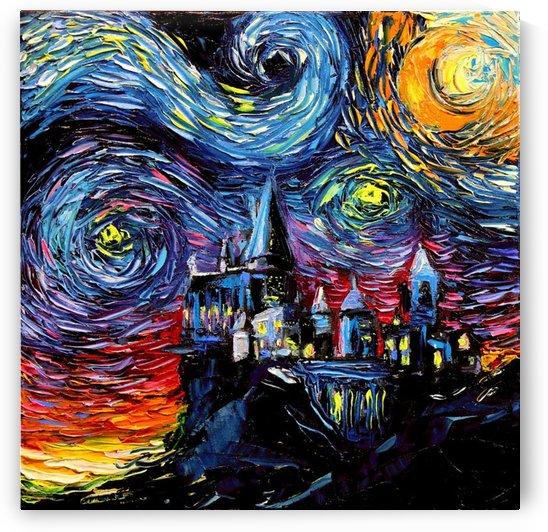 Castle Starry Night print van Gogh parody by Shamudy