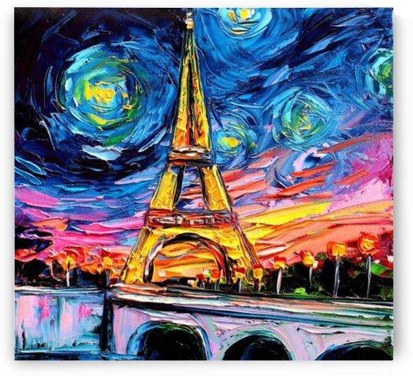 Eiffel Tower Starry Night print van Gogh by Shamudy