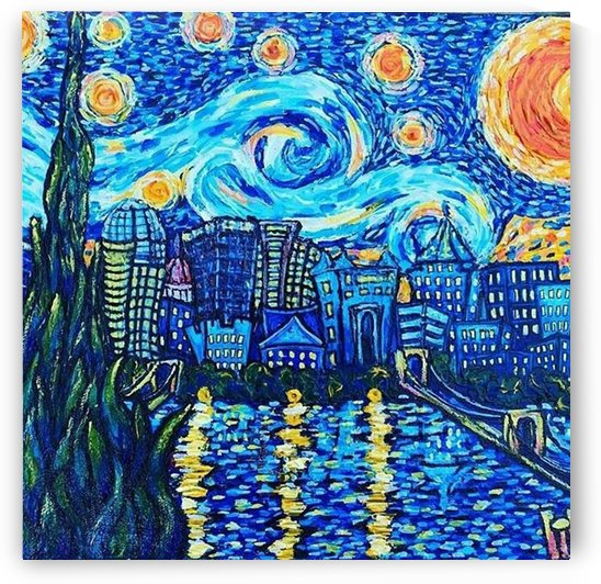 Starry Night van Gogh painting art city scape by Shamudy