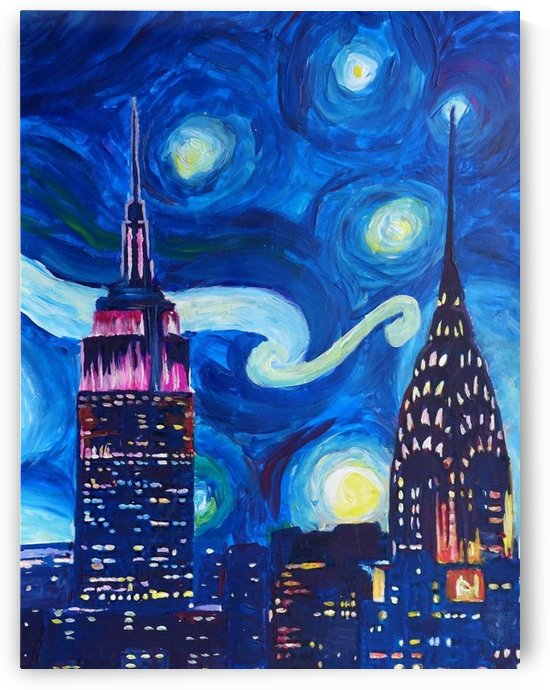 Starry Night in New York Van Gogh Manhattan Chrysler Building and Empire State Building by Shamudy