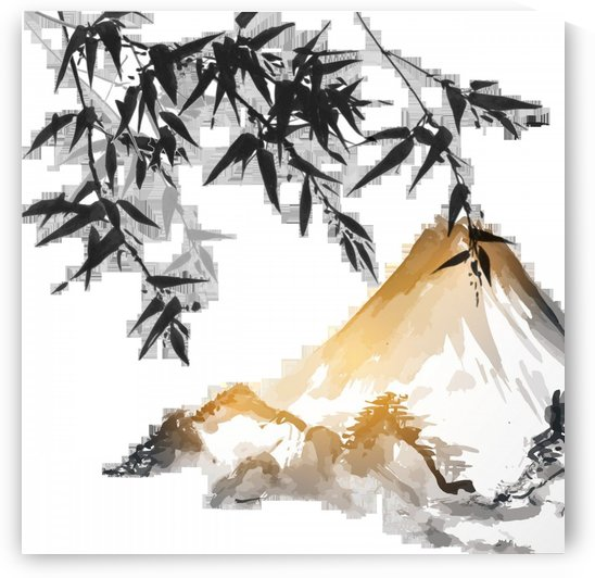 ink wash painting bamboo japanese painting japan by Shamudy