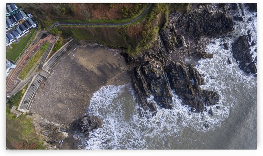 Aerial view of Rotherslade Bay by Leighton Collins