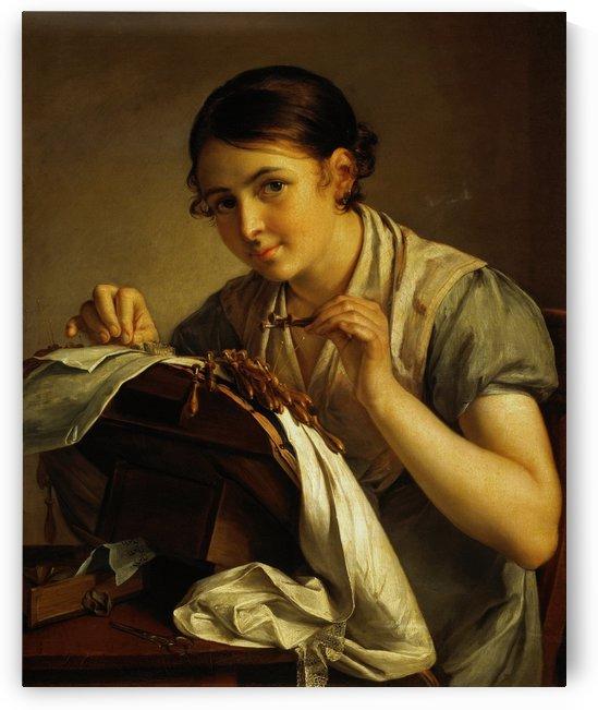 Lace making beauty by Vasily Tropinin