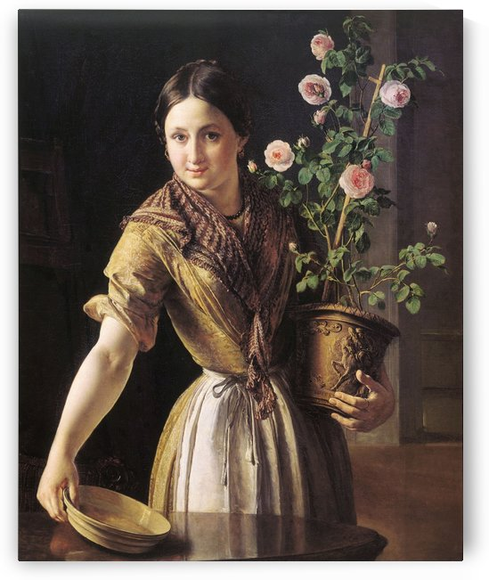 A girl with a pot of roses by Vasily Tropinin