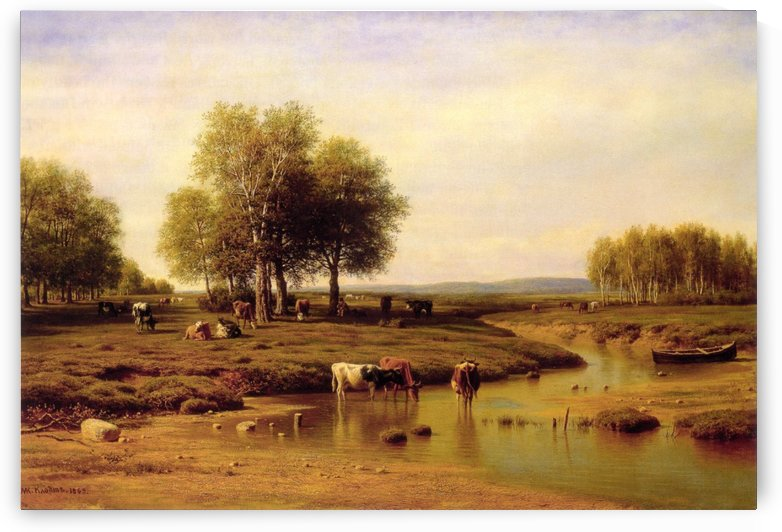 Herd of Cows by the River at Noon by Mikhail Clodt