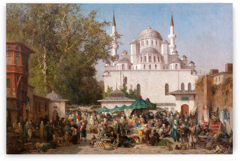 Market outside mosque by Germain Fabius Brest