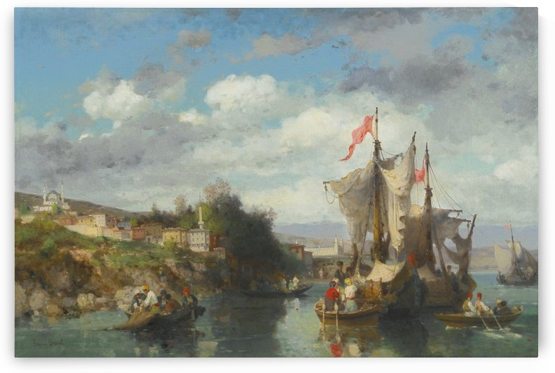 Boats and landscape by Germain Fabius Brest