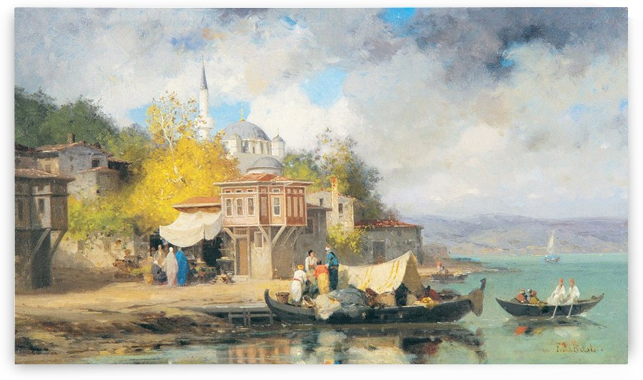 Boats near Turkish abbey by Germain Fabius Brest