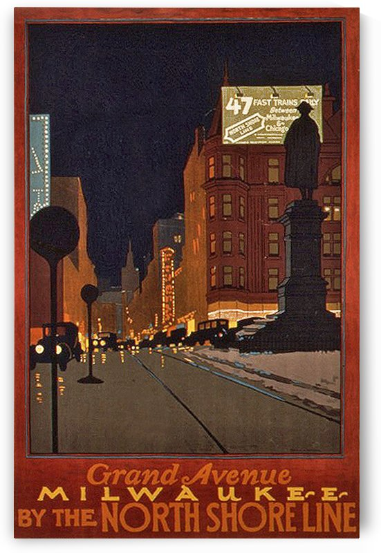 Vintage Travel - Grand Avenue Milwaukee by Culturio