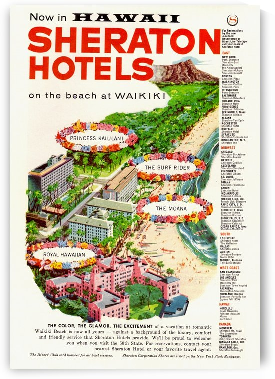 Waikiki Hawaii - Vintage Travel  by Culturio