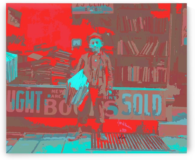 Newsboy in 1909 by dePace-