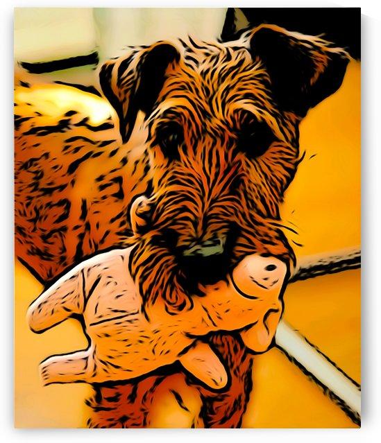 Dog with toy by W Scott