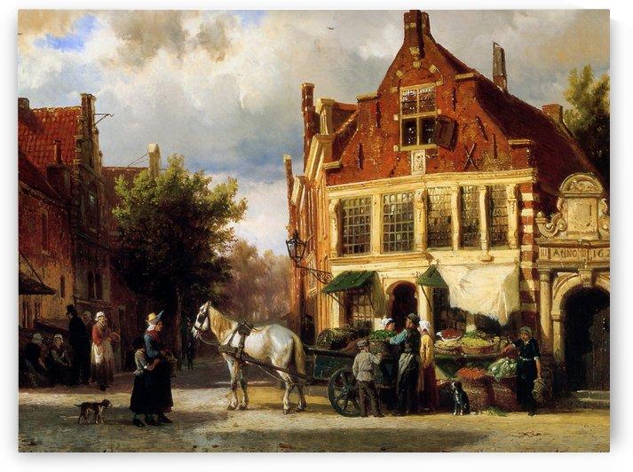 Street scene Sun by Cornelis Springer
