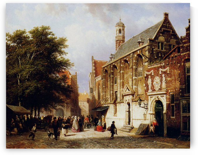 Street view with church by Cornelis Springer