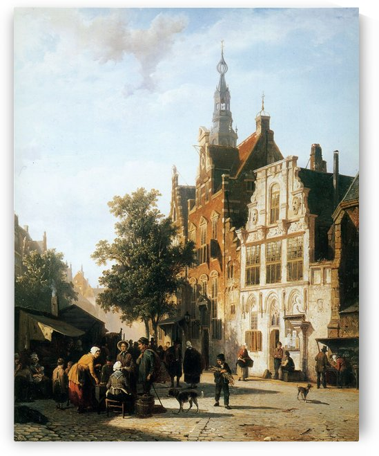 Market view with cityhall Woerden by Cornelis Springer