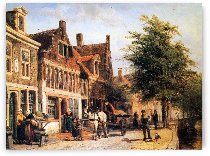 Vissersdijk in Enkhuizen by Cornelis Springer