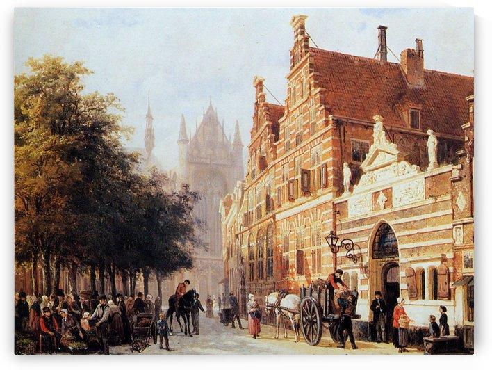 Kerkegracht en Weeshuis in Leiden by Cornelis Springer