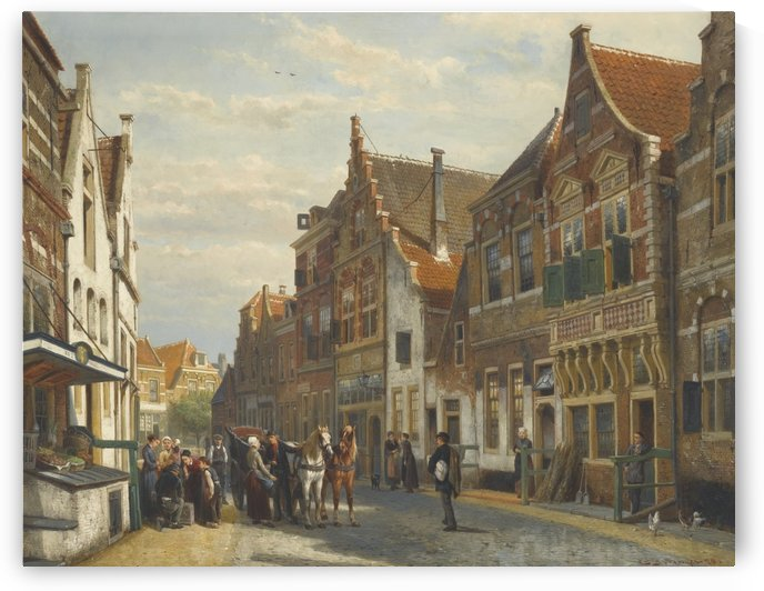 City street with figures by Cornelis Springer