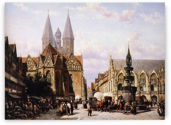 Altstadtmarkt in Brunswijk Sun by Cornelis Springer