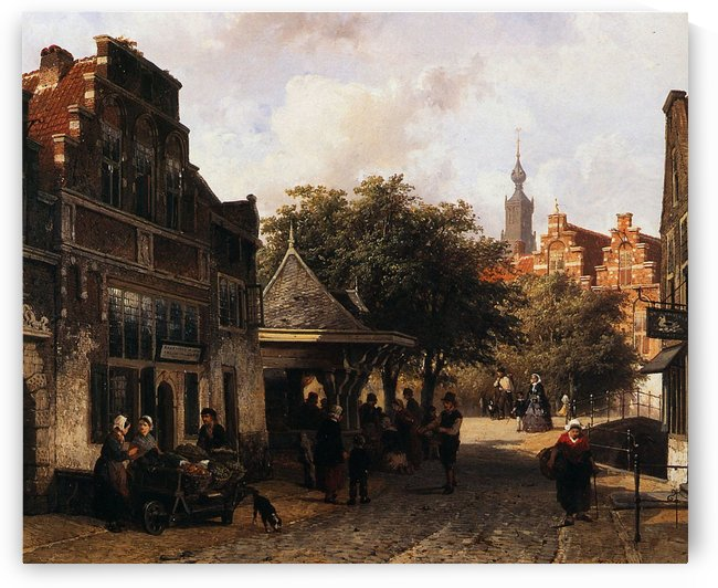 View of Oudewater by Cornelis Springer